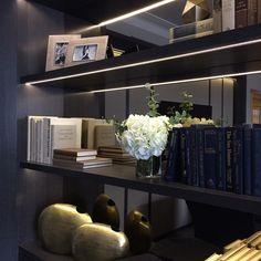 #interiorstyling #displayshelves #greyoak #smokedmirror #lightingdesign #livingroom #laurahammett