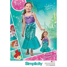 Disney Ariel Child's Costume And Matching American Girl Doll Outfit Pattern - Child's Size: - Simplicity Sewing Pattern 8725 Toddler Ariel Costume, Disney Ariel Costume, Ariel Costumes, Doll Costume, Little Mermaid Cosplay, Girls Mermaid Costume, Little Mermaid Dresses, Ariel The Little Mermaid, Ariel Mermaid