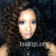 Half brown half black, gorgeous! Our diva style EvaWigs Ciara inspired stocked long wavy full lace human hair wig to this beautiful look! Awesome!