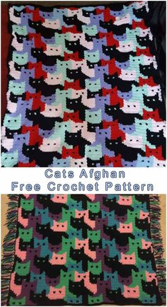 Free Pattern Effective and family project, with sweet little cats as a motif. Design your color and apply the fringes as edging. Full article with Crochet Home, Crochet Crafts, Yarn Crafts, Crochet Yarn, Crochet Stitches, Free Crochet, Crochet Blankets, Yarn Projects, Crochet Projects