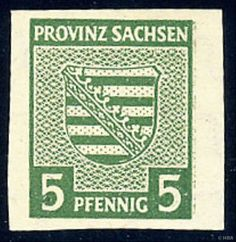Saxony, 1945, province crest, 5 Pfg., dark olive green, very rare increasing watermark, very clean unused extremely fine copy with trace or rest of a hinge, very large margins cut, older marks, certificate with photograph Storm and expertized Ströh with new certificate with photograph, Michel 7000,--.