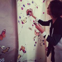 @theglamourai adding butterflies to hand painted wallpaper backgrounds…  (at Ann Street Studio)