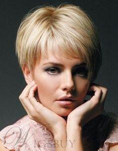 Super Short Full Lace Human Hair Wig Blonde Hair for Women