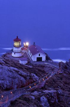 Point Reyes lighthouse after sunset on a winter night, California.