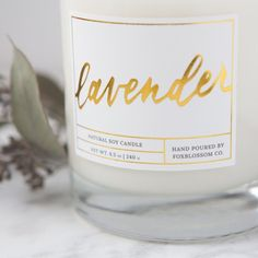 hand poured all natural soy candle, lavender candles, gold candle packaging Modern Candles, Gold Candles, Natural Candles, White Candles, Lavender Candles, Candle Packaging, Candle Labels, Jar Labels, Candle Jars