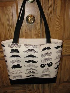 Mustache tote by sewleighmyown, SOLD