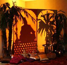Arabian Nights Theme Shisha Man and Palm Tree Back Lit Screen Props Arabian Seating Artificial Palm Trees Lanterns Rug and Tea Light
