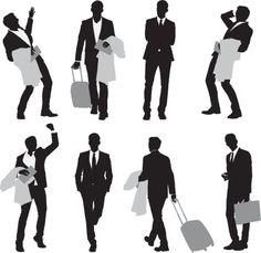 Vectores libres de derechos: Multiple images of a businessman in…