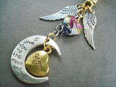 Moon Keychain Handbag Charm Angel Wing Zipper by BeadPassionbyAB $15.00