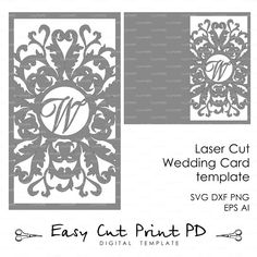 Wedding invitation Card Template Flourish Lace от EasyCutPrintPD