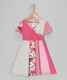 Pink & Gray Floral Collage Surplice Dress - Toddler