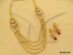 NS-802-330 || Ball Chain Paanshape ManekRatna Antique Necklaces