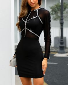 Sheer Mesh Hot Drilling Bodycon Dress Women's Best Online Shopping - Offering Huge Discounts on Dresses, Lingerie , Jumpsuits , Swimwear, Tops and More. Mesh Dress, Sheer Dress, Patchwork Material, Robe Bodycon, Online Dress Shopping, Buy Dress, Pattern Fashion, Trendy Outfits, Sexy Outfits