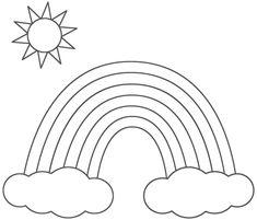 Acolorint el cel de l'arc de Sant Martí per pintar - Dibuix d'impressió