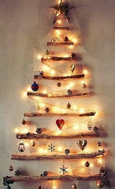 """Cute """"tree"""" for the wall if there's no floor space for a tree"""