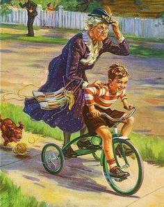 Maravilhosa ilustração,  se eu não tivesse a pastá contando estórias eu ia criá-la agora mesmo. - grandma gets a ride
