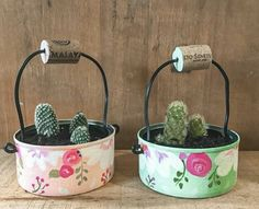 Tin Can Crafts, Crafts To Make And Sell, Diy Arts And Crafts, Easy Crafts, Recycling Containers, Recycle Cans, Decorated Flower Pots, Plantation, Recycled Crafts