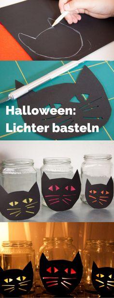 Halloween Lichter als gruselige Katzen. Ich habe einfach Katzenköpfe aus Tonpapier ausgeschnitten und mit Transparentpapier hinterklebt. Dann vor ein leeres Marmeladenglas und ein Teelicht rein - fertig. Katzen basteln für mehr Halloween Spaß!