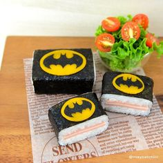 musubi bento with Batman logo tops | by maysatch @ Instagram