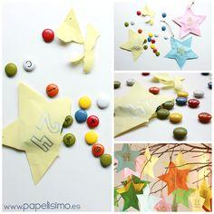 como hacer calendario de adviento niños en papel para Navidad chocolate, Yo he usado una rama seca para colgarlo,pero puedes usar las estrellas de papel como adornos del árbol de Navidad.