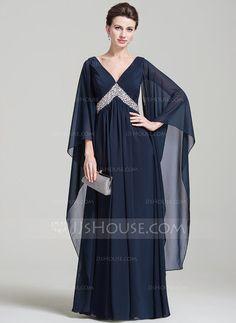 [R$ 555.68] Império Decote V Longos Tecido de seda Vestido de festa com Pregueado lantejoulas (017092349)