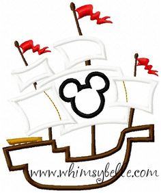 4x4 and 5x7 Mickey Mouse Pirate Ship Applique Sewing Machine Embroidery Applique Design fits hoops 4x4 and 5x7 via Etsy.