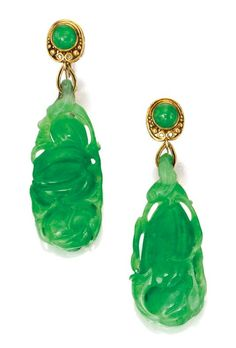 Pair of 18 Karat Gold and Jadeite Pendant-Earrings, Tiffany & Co., Designed by Louis Comfort Tiffany, Circa 1920
