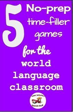 5 No-Prep Time-Filler Games - Super Señorita's Spanish Stuff Spanish Teaching Resources, Spanish Activities, Spanish Language Learning, Spanish Games, Listening Activities, Learning English, Spanish Vocabulary Games, Preschool Spanish, Class Activities