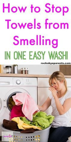 Do your towels smell like mildew? The good news is that you don't need to buy new ones. You can stop towels from smelling in one easy wash! Click through to find out how! Via Rock-A-Bye Parents #Cleaningtips #laundry