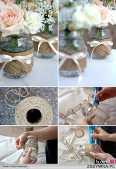 twine jar candle holder DIY ideas