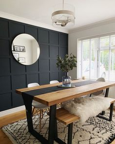 Navy panelled feature wall in dining room Dining Room Feature Wall, Feature Wall Bedroom, Bedroom Wall, Bedroom Inspo, Master Bedroom, Dining Room Paneling, Dining Room Walls, Dining Area, Feature Wall Design