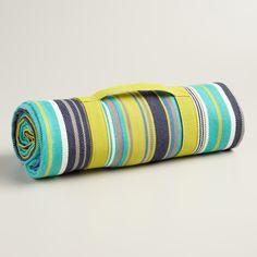 Blue Stripe Cotton Picnic Blanket | World Market