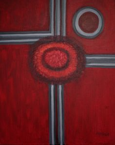 "Lynda Arthur-Many Roads-.A 16""x 20"" oil on canvas abstract painting."