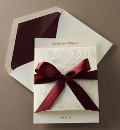 Delicate Leaves on Cream with Burgundy
