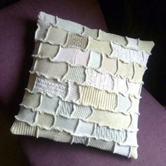 Happy Scrappy Crazy Patchwork Cushion Cover Natural by SpiralGypsy