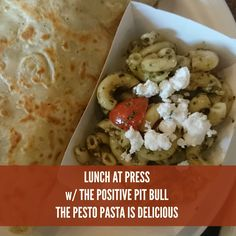 Press Coffee+Crepes in downtown Graham is offering a cold Pesto Pasta salad. It is delicious! Paige from The Positive Pit Bull and I agree!
