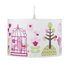 Lampadario decorato con degli uccellini, cuoricini ed alberi.