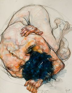 red-lipstick: Sylvie Guillot (French, b. 1972, Paris, France) - Emmanuelle huddled up Drawings: Black Chalk and Watercolors