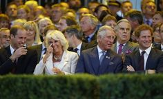 (L-R) Prince William, Duke of Cambridge, Camilla, Duchess of Cornwall, Prince Charles, Prince of Wales and Prince Harry laugh during the opening ceremony of the Invictus Games at the Queen Elizabeth Park on September 10, 2014