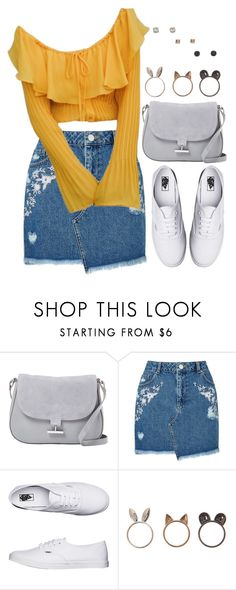 """Untitled #1369"" by asoul4 ❤ liked on Polyvore featuring Halston Heritage, Miss Selfridge, Vans, Mudd, denimskirt and offshouldertop"