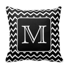 Black and White Chevron with Custom Monogram. Pillow