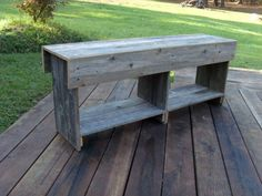Long Cottage Bench, Coffee Table, Flat Screen Tv Stand with Bottom Storage. Rustic Furniture. Recycled Wood MADE TO ORDER CUSTOM. $325.00, via Etsy.