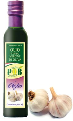 $4 Extravirgin olive oil with Garlic    Flavored with natural    Garlic oil is a condiment with a strong taste , ideal to enrich all the dishes for which its aroma is indicated. Recommended on roast and vegetables. This product is available in bottles of 0,25 liters.    www.oliopob.it