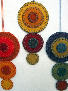 Wool Felt Penny Rug Ornaments