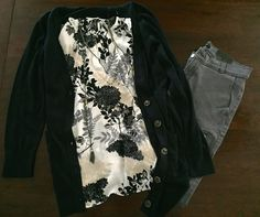 Button-Down Cardigan in Navy - The Loft. Floral Top in Black/Cream - Ann Taylor. Necklace - The Loft. Zippered Skinny Pant in Grey - Banana Republic.