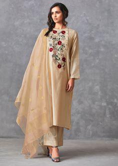Cream Straight Suit In Cotton Silk With Center Panel In Floral Resham Embroidery Online - Kalki Fashion Embroidery Suits Punjabi, Embroidery Suits Design, Embroidery Fashion, Embroidery Online, Embroidery Dress, Machine Embroidery, Embroidery Designs, Tunic Designs, Kurta Designs Women