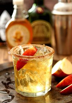 Apple Cider Margarita Ingredients: 6 oz Cider 4 oz Tequila 1 oz Ginger Syrup 1 oz Orange Liqueur Cinnammon Sugar for the rim Margarita Cocktail, Cocktail Drinks, Cocktail Recipes, Drink Recipes, Cocktail Ideas, Bourbon Drinks, Tequila Sunrise, Holiday Drinks, Party Drinks