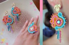 Soutache earrings and ring by Serena Di Mercione