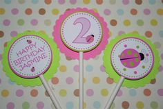 Themed Cupcakes, Party Items, Ladybug, Pink And Green, Baby Shower, Birthday, Happy, Ideas, Baby Sprinkle Shower