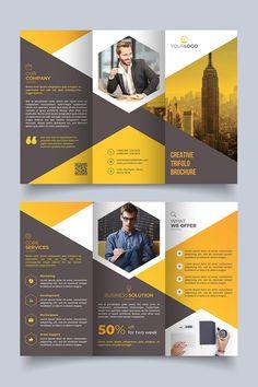Brochure à trois volets Modèle Hexagon Corporate Identity # 80651 - Beauty Black Pins Brochure Indesign, Template Brochure, Brochure Layout, Flyer Template, Brochure Trifold, Leaflet Template, Flyer Layout, Brochures, Graphic Design Brochure